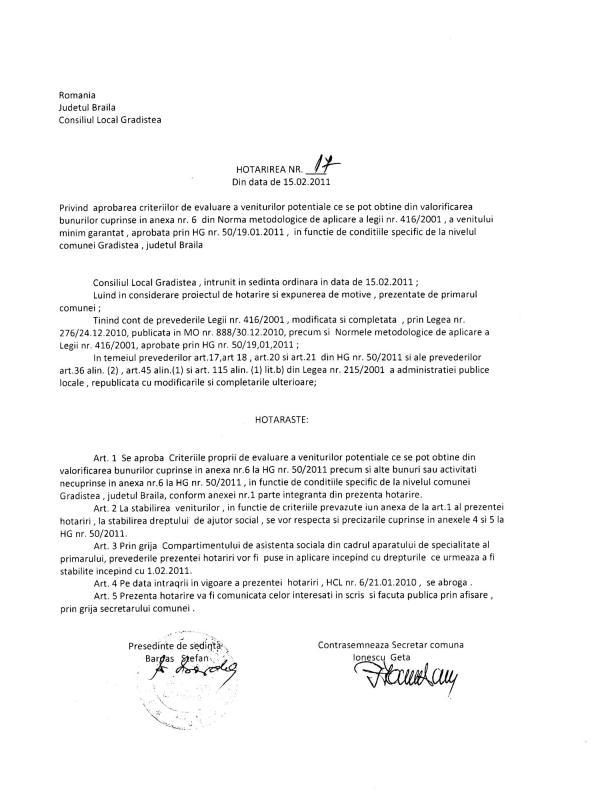 Hotararea consiliului local Nr 17 din data 15.02.2011